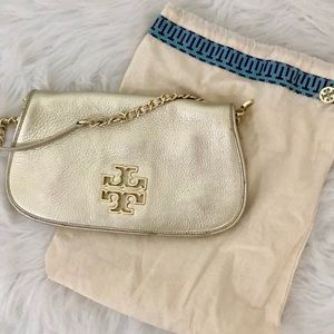 Gold crossbody Tory Burg purse handbag clutch
